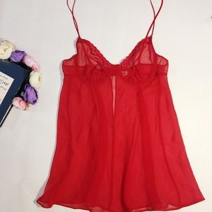Calvin Klein red sheer sexy lingerie size 36B